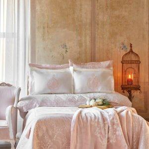 купить Постельное белье с покрывалом + плед Karaca Home Desire pudra 2020-1 Розовый фото