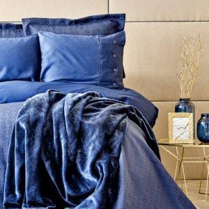 купить Постельное белье с покрывалом + плед Karaca Home Infinity lacivert 2020-1 Синий фото