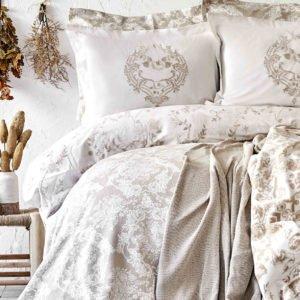 купить Постельное белье с покрывалом + плед Karaca Home Quatre royal gold 2020-1 Бежевый фото