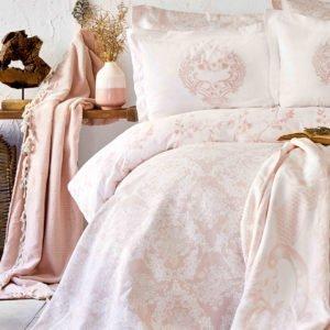 купить Постельное белье с покрывалом + плед Karaca Home Quatre royal pudra 2020-1 Розовый фото