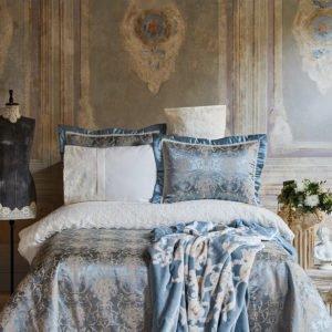 купить Постельное белье с покрывалом + плед Karaca Home Trella mavi 2020-1 Голубой фото