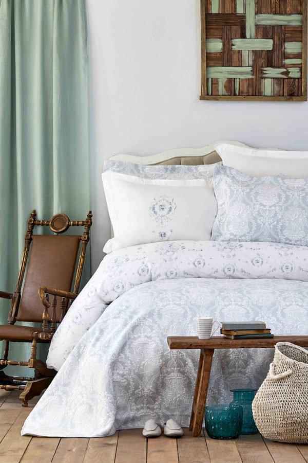 купить Постельное белье с покрывалом Karaca Home Quatre delux tiffany 2019-2 Голубой фото
