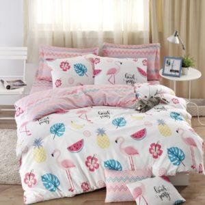 купить Постельное белье Eponj Home Kokteyl beyaz белый ранфорс Розовый фото