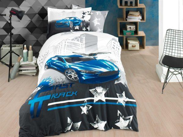 купить Постельное белье Hobby Poplin Fast Track blue Синий Серый фото