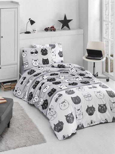 купить Постельное белье Lighthouse 4 Сезона Ranforce Lovely Cats Серый фото