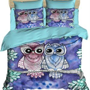 купить Постельное белье Lighthouse Ranforce 3D Night Owls Фиолетовый фото