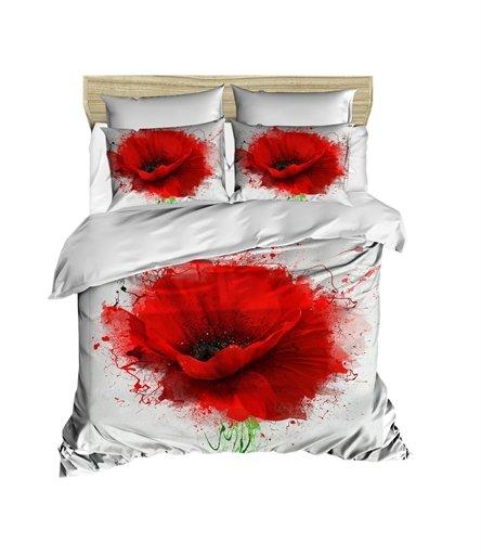 купить Постельное белье Lighthouse Ranforce 3D Poppy Flower Красный фото