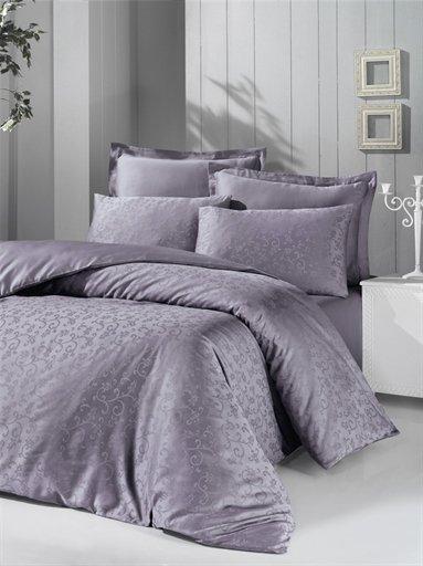 купить Постельное белье Victoria Deluxe Jacquard Sateen Rimma Серый Фиолетовый фото