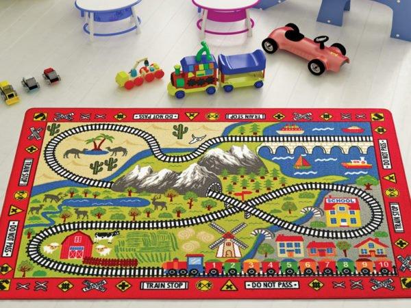 купить Коврик в детскую комнату Confetti Railway Kirmizi 100x150 Красный фото