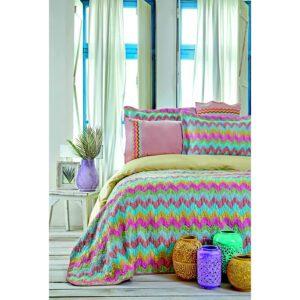 купить Набор постельное белье с покрывалом Karaca Home - Mood Prime Zigzag 2020-2 Розовый фото