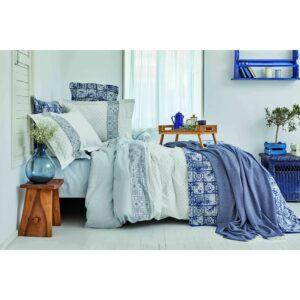 купить Постельное белье с покрывалом и пике Karaca Home - Positano mavi 2020-2 Голубой фото