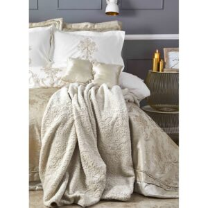 купить Постельное белье с покрывалом и пледом Karaca Home - Mihrimah gold 2020-2 Золотой|Бежевый фото