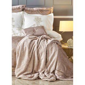 купить Постельное белье с покрывалом и пледом Karaca Home - Mihrimah pudra 2020-2 Золотой|Розовый фото