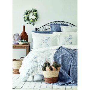купить Постельное белье с покрывалом Karaca Home - Vial indigo 2020-2 Голубой фото