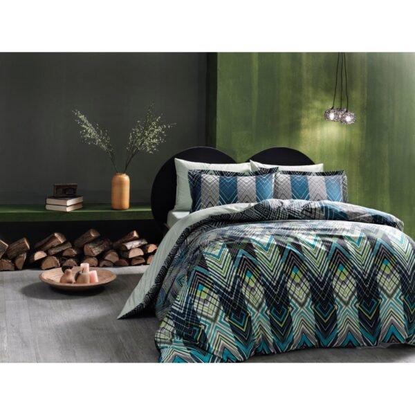 купить Постельное белье TAC сатин Digital - Shanghai V1 sari Зеленый фото