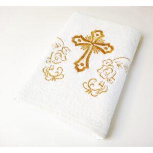 купить Крыжма Lotus вышивка - с золотом Белый фото