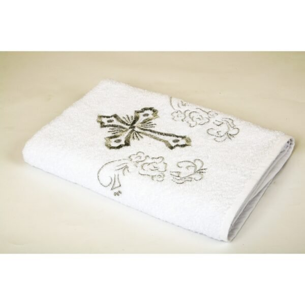 купить Крыжма Lotus вышивка - с серебром Белый фото