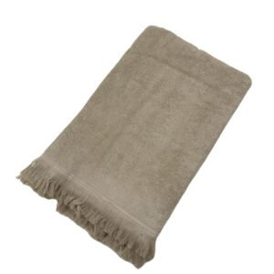 купить Махровое полотенце UzTex Home 500 бахрома 70*140 Бежевый Бежевый фото