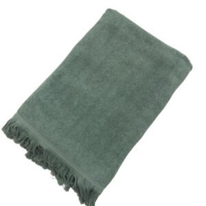 купить Махровое полотенце UzTex Home 500 бахрома 70*140 green Серый|Зеленый фото