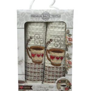 купить Набор кухонных полотенец Mercan вафельных Premium Baltic Textile Coffee Heart 50*70 2 шт Бежевый фото
