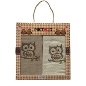 купить Набор кухонных полотенец Meteor Вышивка Совы 50*70 2 шт кофейный  фото