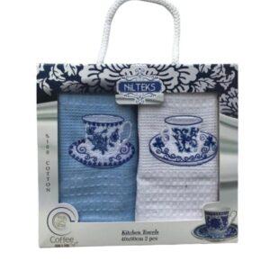 купить Набор кухонных полотенец Nilteks вафельные Гжель 40*60 2 шт Голубой фото