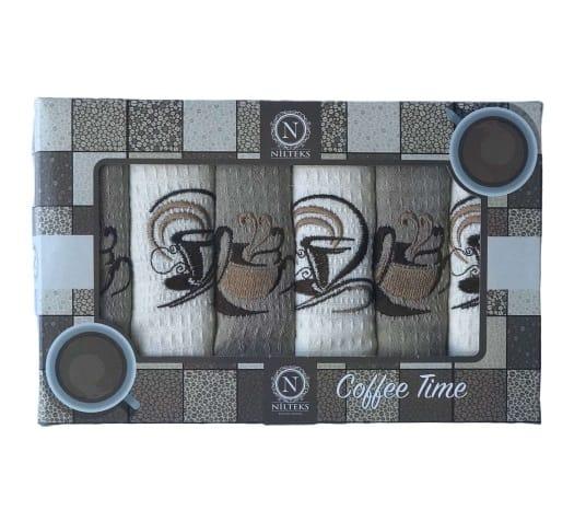 купить Набор кухонных полотенец Nilteks Coffee Time V04 40*60 6 шт  фото