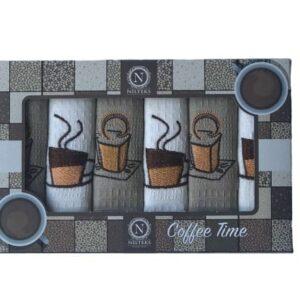 купить Набор кухонных полотенец Nilteks Coffee Time V06 40*60 6 шт  фото