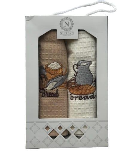 купить Набор кухонных полотенец Nilteks Lux Хлеб 40*60 2 шт Бежевый фото