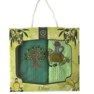 купить Набор кухонных полотенец Nilteks Olive дерево V01 40*60 2 шт Зеленый фото