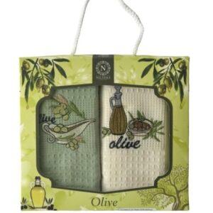 купить Набор кухонных полотенец Nilteks Olive пиала V01 40*60 2 шт Зеленый фото
