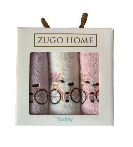 купить Набор кухонных полотенец Zugo Home Bike V1 30*50 3 шт Розовый фото