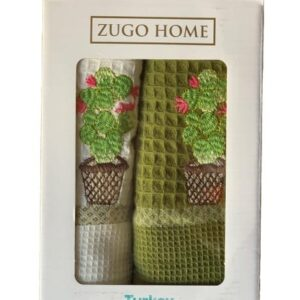 купить Набор кухонных полотенец Zugo Home Curly Cactus V1 40*60 2 шт Зеленый фото