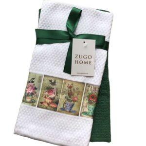 купить Набор кухонных полотенец Zugo Home Flowerpot 40*60 2 шт Зеленый фото