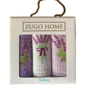 купить Набор кухонных полотенец Zugo Home Lavender V1 30*50 3 шт Сиреневый фото