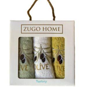 купить Набор кухонных полотенец Zugo Home Olive V1 30*50 3 шт Желтый фото