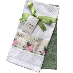 купить Набор кухонных полотенец Zugo Home Rose 40*60 2 шт Зеленый Зеленый фото