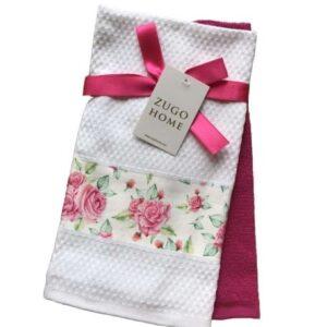 купить Набор кухонных полотенец Zugo Home Rose 40*60 2 шт Розовый Розовый фото