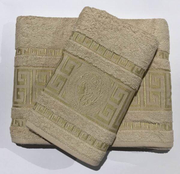 купить Набор махровых полотенец Gold Soft Life Версаче 50*90 и 70*140 Кремовый фото