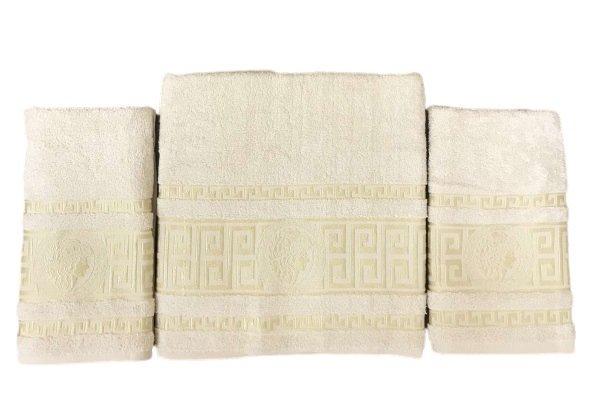 купить Набор махровых полотенец Gold Soft Life Версаче 50*90(2 шт) и 70*140 Бежевый Бежевый фото