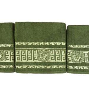 купить Набор махровых полотенец Gold Soft Life Версаче 50*90(2 шт) и 70*140 Зеленый Зеленый фото