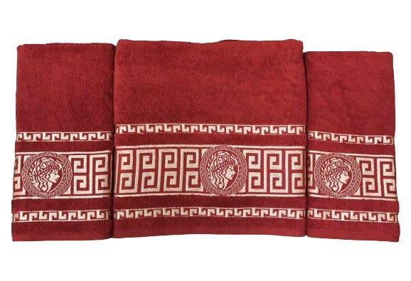 купить Набор махровых полотенец Gold Soft Life Версаче 50*90(2 шт) и 70*140 Красный_x000D_ Красный_x000D_ фото