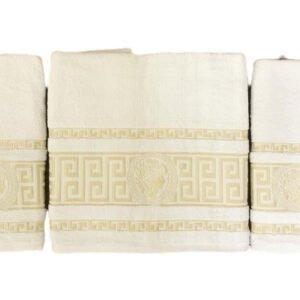 купить Набор махровых полотенец Gold Soft Life Версаче 50*90(2 шт) и 70*140 Кремовый Кремовый фото
