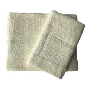 купить Набор махровых полотенец Gold Soft Life Ромб 50*90 и 70*140 Кремовый Кремовый фото