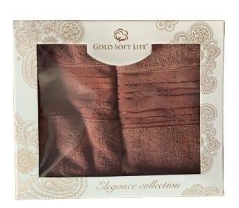 купить Набор махровых полотенец Gold Soft Life Lili 50*90 и 70*140 бордо Бордовый фото