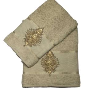 купить Набор махровых полотенец Merzuka Pera 50*90 и 70*140 Бежевый фото