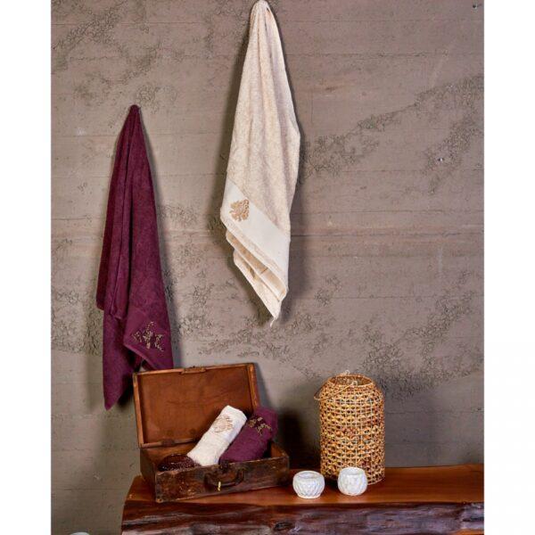 купить Набор полотенец Karaca Home - Fronda Murdum-Bej 2020-2 Фиолетовый фото