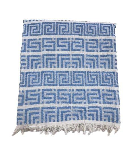 купить Пляжное полотенце Gold Soft Life pestemal Меандр 100*180 Голубой Голубой фото