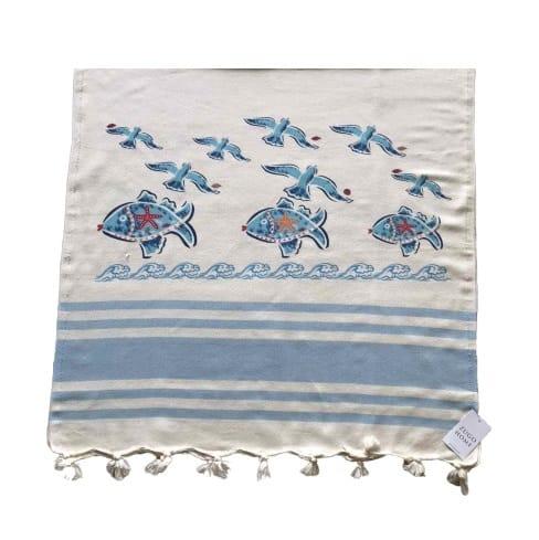 купить Пляжное полотенце Zugo Home Рыбки и Чайки 80*170 Голубой Голубой фото
