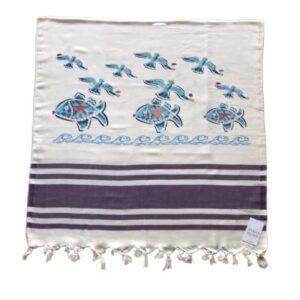 купить Пляжное полотенце Zugo Home Рыбки и Чайки 80*170 Фиолетовый Фиолетовый фото